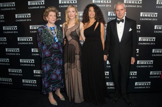 A colecionadora e compradora de arte Agnes Gund, Cate Blanchett, a modelo Afef Jnifen e Marco Tronchetti Provera, diretor do grupo Pirelli - clica pra ver mais!