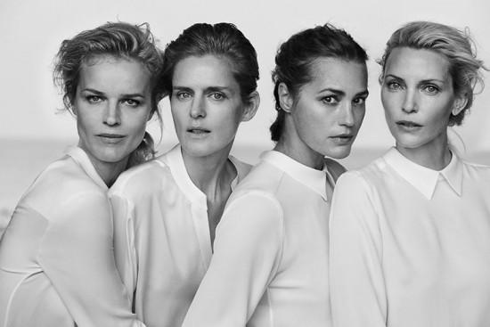 As 4 modelos Eva Herzigova, Stella Tennant, Yasmin Le Bon e Nadja Auermann em uma das imagens divulgadas. Vem ver mais na nossa galeria!
