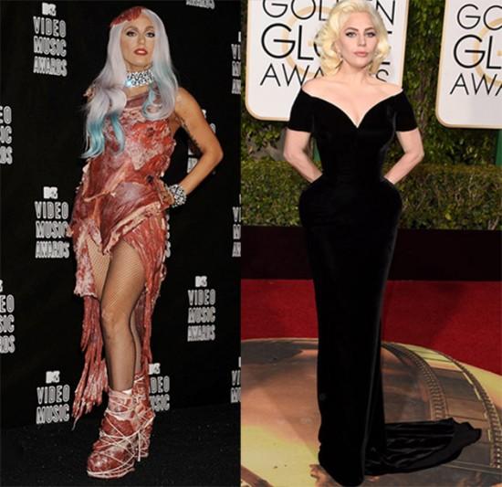 Confira a evolução de estilo da Lady Gaga ao longo dos anos! Na foto, um antes e depois da cantora... Ui!