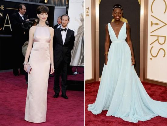 Visionária é pouco: as duas últimas vezes que a Prada vestiu candidatas! Rosa quartzo pra Anne Hathaway em 2013, azul serenity pra Lupita Nyong'o em 2014. E ambas levaram estatueta de Melhor Atriz Coadjuvante! E aí, será que alguém vai apostar na grife de Miuccia de novo?
