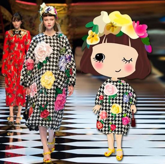Desfile da Dolce & Gabbana e sua ilustração feita por Atou - vem ver mais aqui!