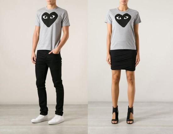Começando com este modelo de camiseta da Comme des Garçons, ambas na cor cinza e com o logo da marca. Na Farfetch a masculina custa R$ 860 e a feminina R$ 1010 - olha a diferença de preços! Clica na galeria pra ver mais itens