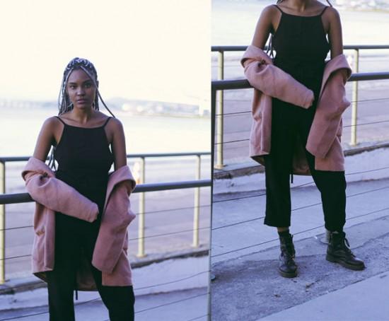 Nirvana, 22 anos, é modelo e estuda marketing. Ela veio trabalhar no evento pela Natura e escolheu um look prático: o macacão é da loja Três, casaco da Canal e bota Cravo e Canela - clica pra ver mais!