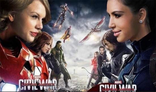 """Um dos memes que surgiram coloca Kim e Taylor no pôster de """"Capitão América: Guerra Civil"""". Clica pra ver mais montagens!"""