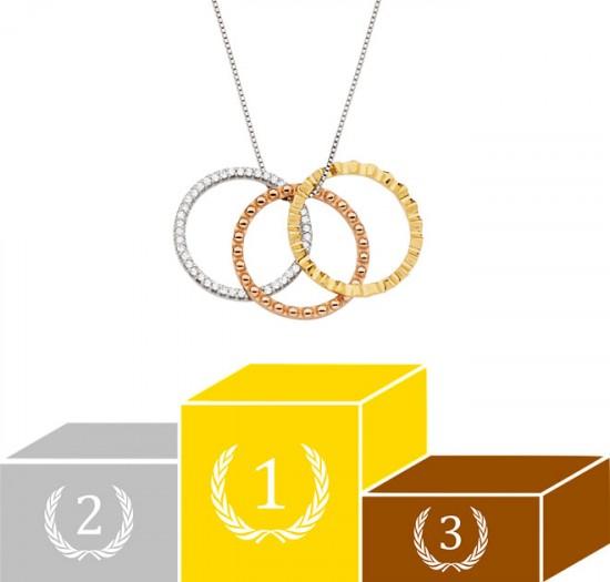 Vamos às nossas medalhas olímpicas, começando com essa que representa todos os ganhadores! Da Maxior (R$ 3.805, à venda no Catarina Fashion Outlet) - clica pra ver mais