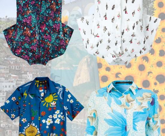 Olha só camisas divertidas pra usar no Rio! Da esq. pra dir., de cima pra baixo: Fillity (R$ 428), Kenzo (R$ 685, à venda na Farfetch), Adidas (R$ 289,99) e Animale (R$ 298,90, à venda na Shop2gether) - clica pra ver mais!