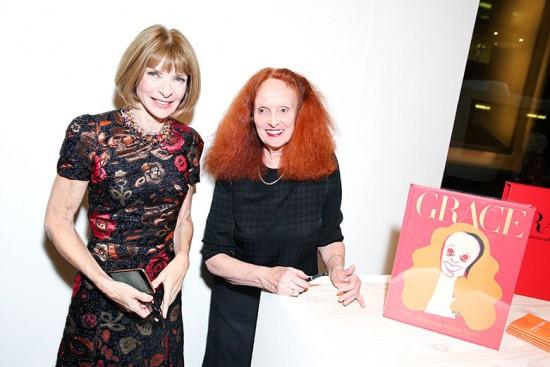 Anna Wintour e Grace Coddington na festa de lançamento do novo livro da ruiva - clica na foto pra ver quem mais passou por lá!