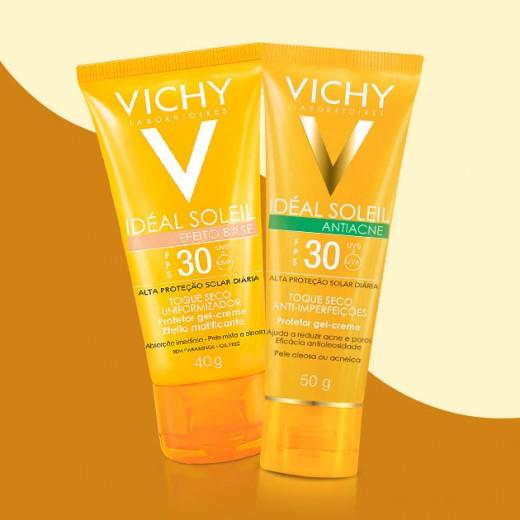 A Vichy lança a linha Idéal Soleil com protetores solares pra atender necessidades específicas da pele: tem Antiacne FPS 30, com ácido salicílico na fórmula (R$ 69), o Hydrasoft FPS 50 (R$ 59,90) com textura ultraleve e ação hidratante e o Efeito Base FPS 30, com cor e textura matificante (R$ 59)