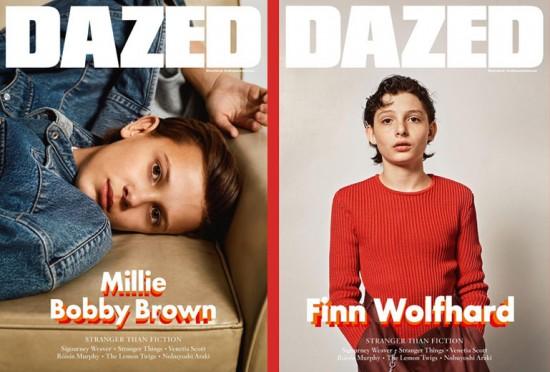 """De """"Stranger Things"""" pra capas de revista:  Millie Bobby Brown e Finn Wolfhard estão na """"Dazed""""! Clica na foto pra ver o editorial dos dois"""