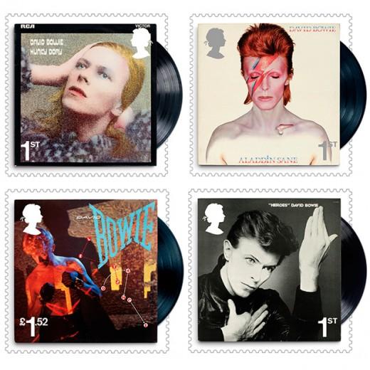"""Essas são as capas dos discos """"Hunky Dory"""" (1971), """"Aladdin Sane"""" (1973), """"Let's Dance"""" (1983) e """"Heroes"""" (1977)! Clica e veja mais"""