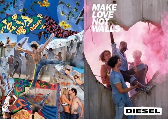 Olha o coração feito pra derrubar o muro da Diesel! Clica pra ver mais fotos da campanha de primavera-verão 2017