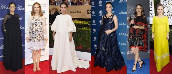 Natalie Portman está grávida mas variando os modelos de vestidos à toda. Da esq. pra dir.: Dior em Palm Springs, Rodarte no Gotham, Dior de novo no SAG, Erdem no Huading, Alexander McQueen no Critics' Choice e Prada no Globo de Ouro