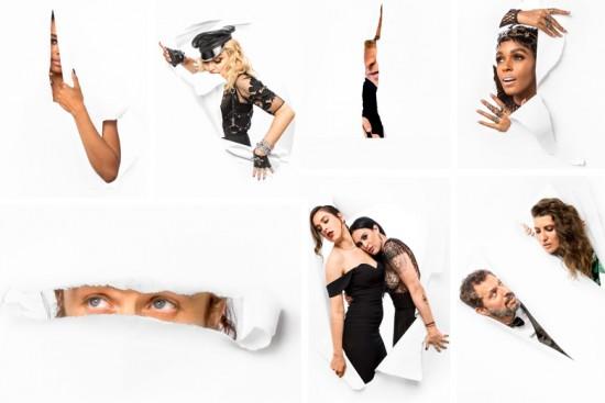 Olha só o resultado das fotografias de JR. Aqui, no sentindo horário: Kat Graham, Madonna, Spike Jonze, Janelle Monáe, Guy Oseary e Michelle Alves, Scout e Rumer Willis e Casey Affleck