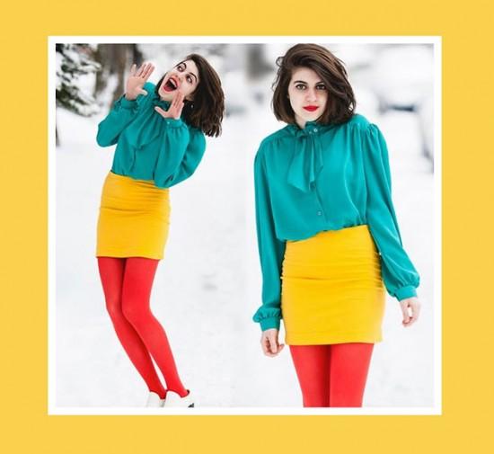 Look verde, amarelo e vermelho. Combinação divertida e colorida! Clica pra ver mais inspirações