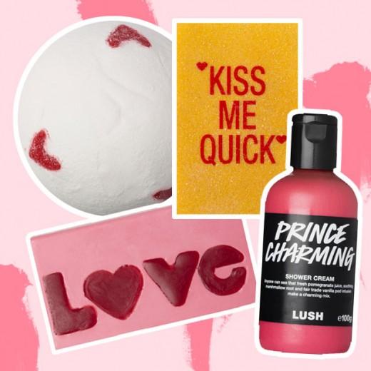 """Banho divertido com a coleção especial de Dia dos Namorados da Lush: bomba de sal (R$ 20) cartão """"sabonete"""" (R$ 17) e gel de banho (R$ 47) - clica na foto pra ver mais!"""