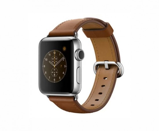 """Apple Watch Series 2 de pulseira de couro, <a href=""""https://click.linksynergy.com/deeplink?id=N0rJZDSv9hA&mid=41720&murl=http%3A%2F%2Fwww.lojaiplace.com.br%2FiPlace%2Fproduto%2Fapple-watch-series-2%2Fapple-watch-s2-mnp72bz-a%2F173147%2F"""">à venda no iPlace por R$ 4.589,10</a>. Vem ver mais aqui na galeria!"""