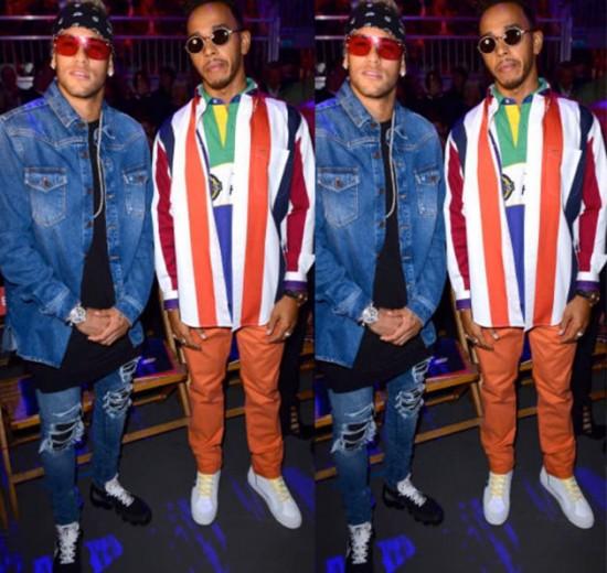 Que dupla: Neymar e Lewis Hamilton na fila A do Tommy Hilfiger - vem ver mais!