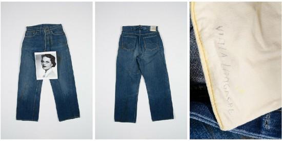 """A calça """"Viola"""", com uma foto de sua dona e o nome dela escrito à mão no forro do bolso: história em forma de jeans da Levi's"""