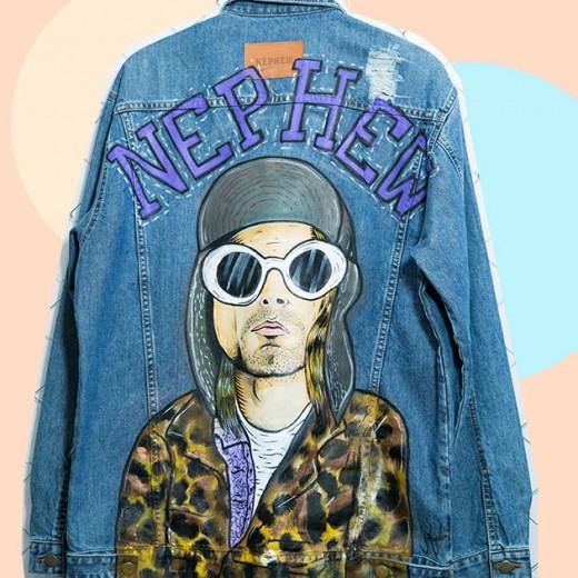 Kurt Cobain na jaqueta da Nephew