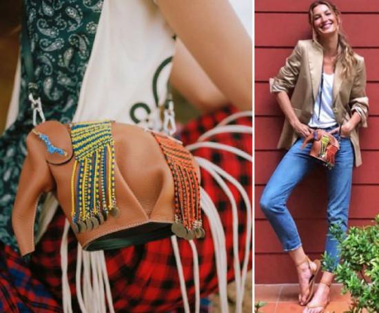 Pelo Insta, Gisele publicou a foto com a bolsa da Loewe (dir.)! Vem saber mais!