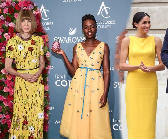 Anna Wintour, Lupita Nyong'o e Meghan Markle são apenas algumas das mulheres que aderiram ao vestido amarelo! Vem ver mais!