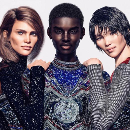 Margot (esq), Shudu Gram (centro) e Zhi (dir.) são modelos virtuais que fazem parte da #balmainvirtualarmy! Vem ver mais foto!