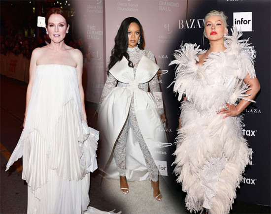É hora do branco da moda festa: Julianne Moore, Rihanna, Christina Aguilera e outras famosas aderiram! E você?