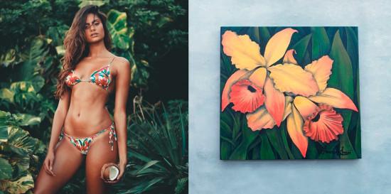 Biquínis sustentáveis! Essa é a brasileira Krugans, que usa tecido biodegradável e proteção UV em suas peças. A estampa do biquíni da foto foi pintada à mão!