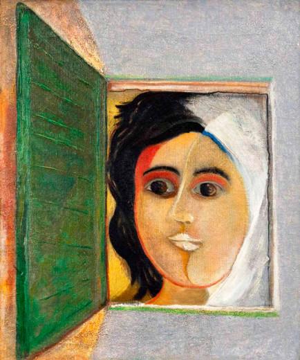 """A exposição """"Olho que Aponta Não é o Mesmo que Vê"""" reúne 15 artistas nordestinos - essa obra é """"Figura na Janela"""" (década de 40) de Cícero Dias. Vem saber mais"""