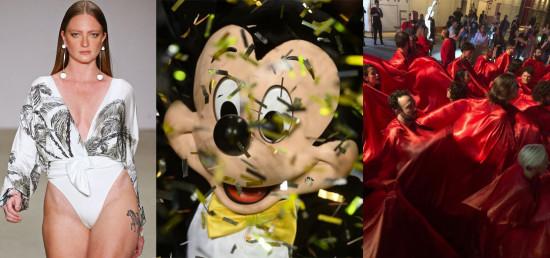 SPFW encerra com desfile de moda praia com casting diverso (em corpo, raça, idade), Mickey Mouse e protesto. Saiba mais!