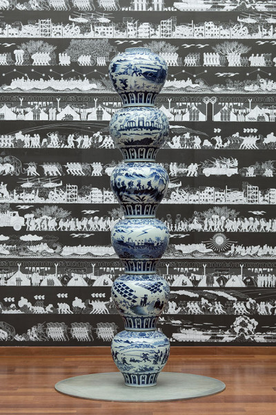 11118-ai-weiwei-Stacked-Porcelain-Vases-as-a-Pillar-2017