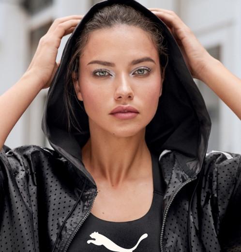 A top Adriana Lima é o rosto da nova colab de make da Maybelline com a Puma! Clica pra ver as fotos!