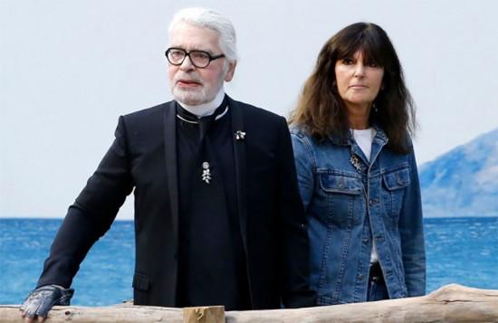 Lagerfeld com Virginie Viard, sua sucessora