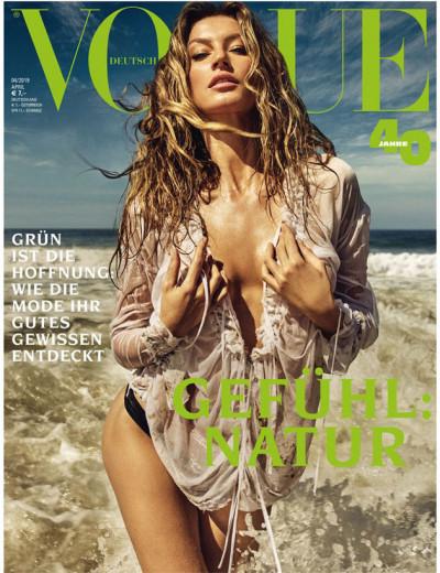 """Gisele estrela a capa da edição de abril da """"Vogue"""" Alemanha - que é dedicada à sustentabilidade na indústria da moda. Vem saber mais!"""