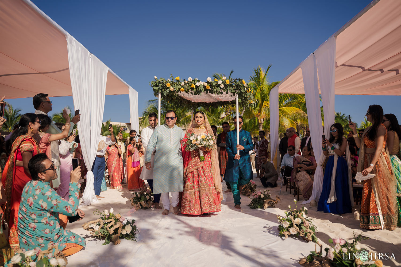 Wedding Ceremony Bride Entrance Royalton Riviera Cancun Indian Wedding