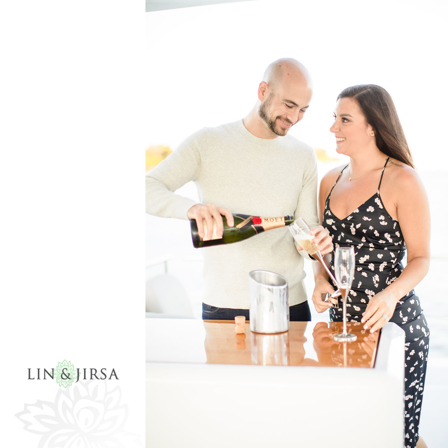 Champagne Toast Marina Del Rey Private Boat Engagement Session