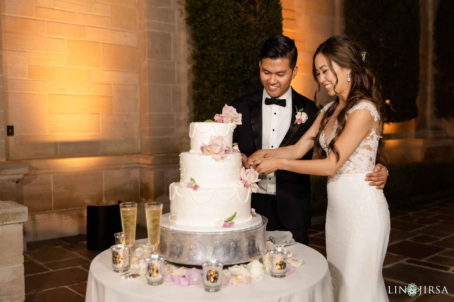 Cake Cutting Greystone Mansion Wedding Beverly Hills Reception