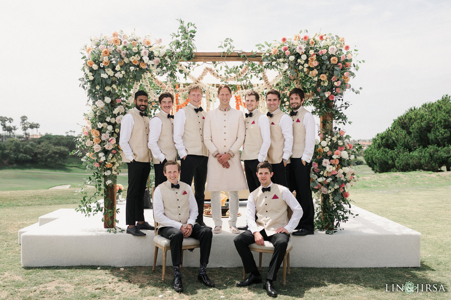 Groomsmen Monarch Beach Resort Filmic Indian Wedding Ceremony 02