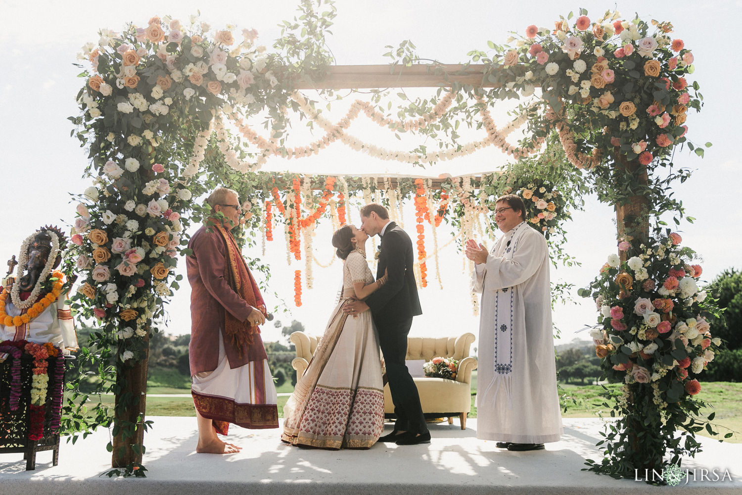 First Kiss Lutheran Ceremony 02 Monarch Beach Resort Filmic Indian Wedding Ceremony