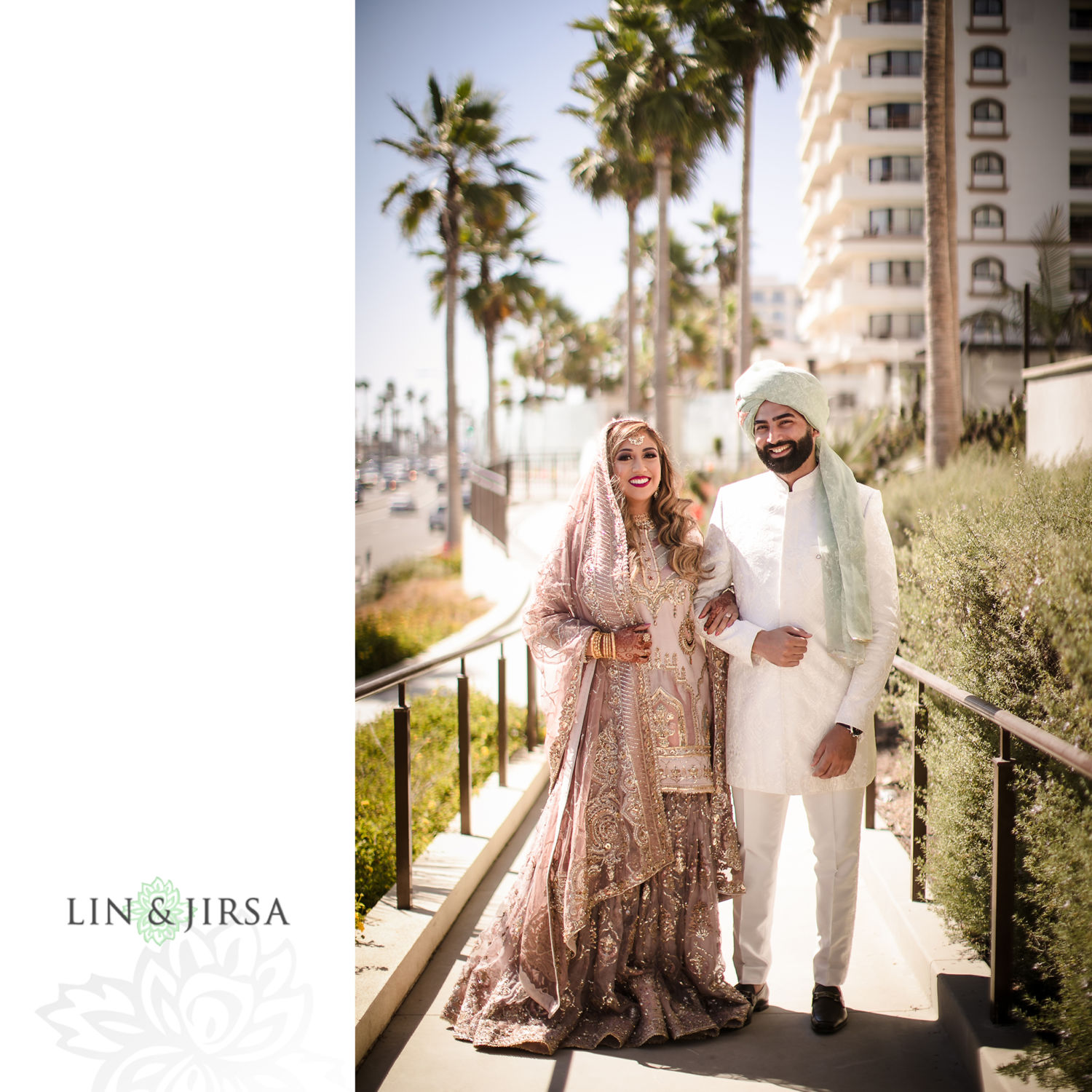 First Look Couple Session Hyatt Huntington Beach Muslim Micro Wedding