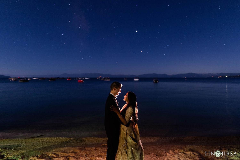 nighttime photography First dance Hyatt Regency Lake Tahoe Resort Fusion Wedding Reception