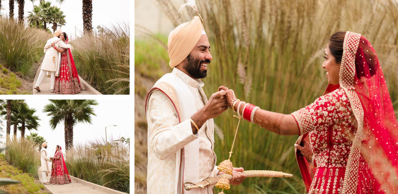 First look Pasea Huntington Beach Sikh Micro Wedding Lin and Jirsa2