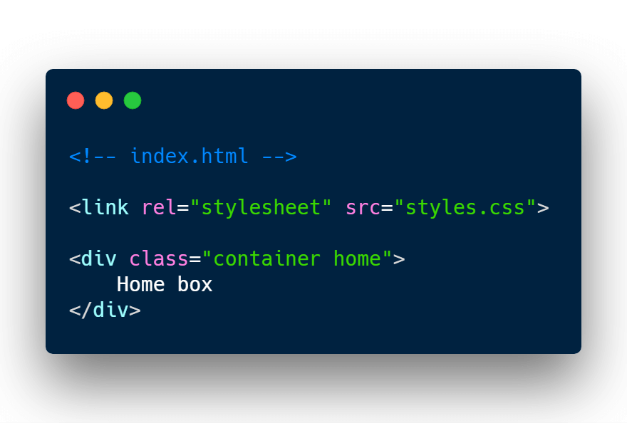 Loading CSS stylsheet inside index.html file