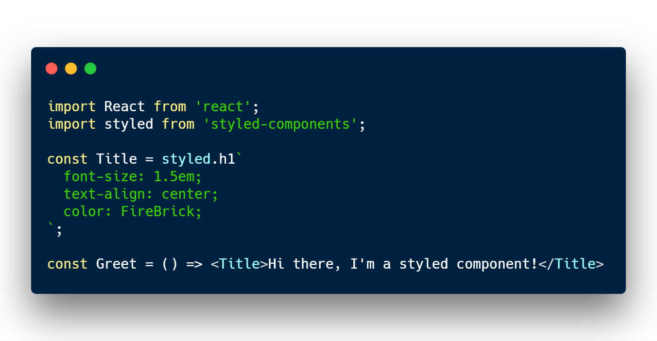 Styling H1 element with React and styled components