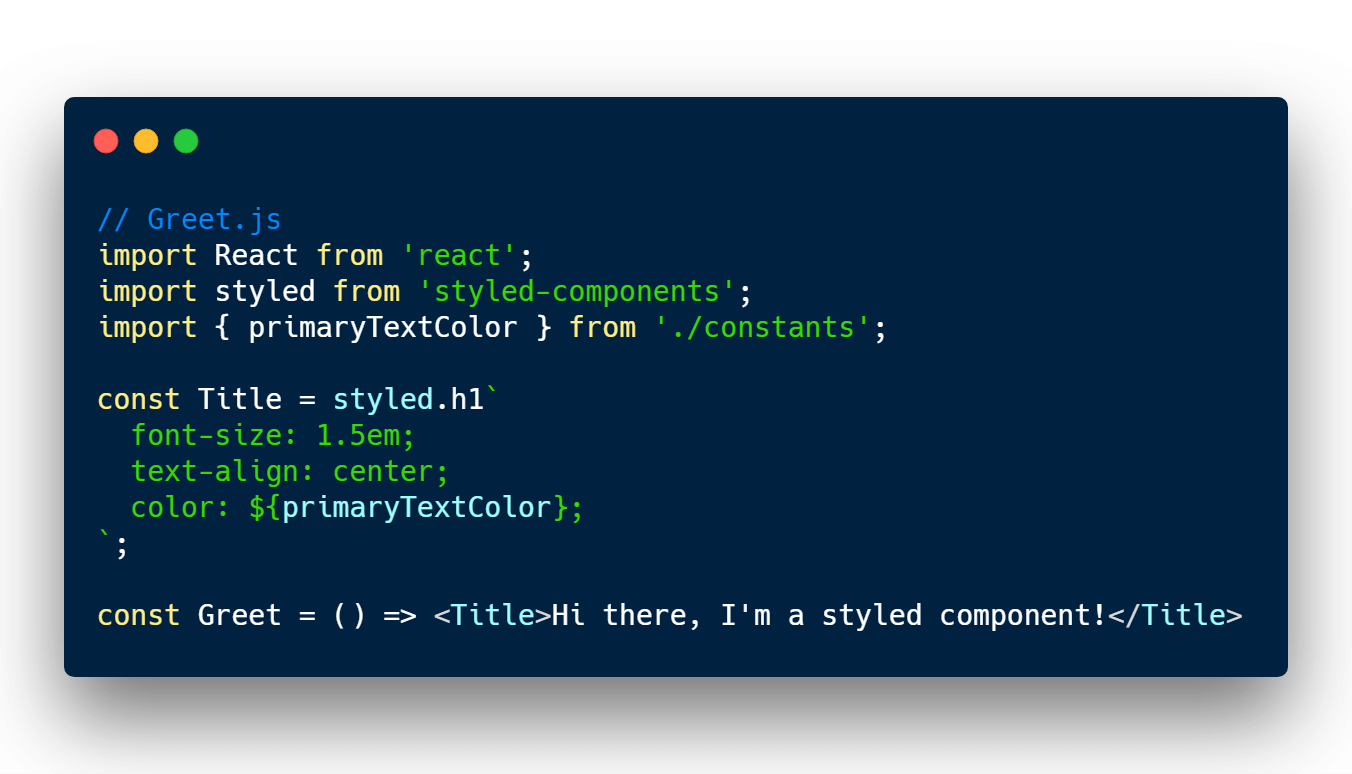 Using JavaScript CSS constant in styled components and React