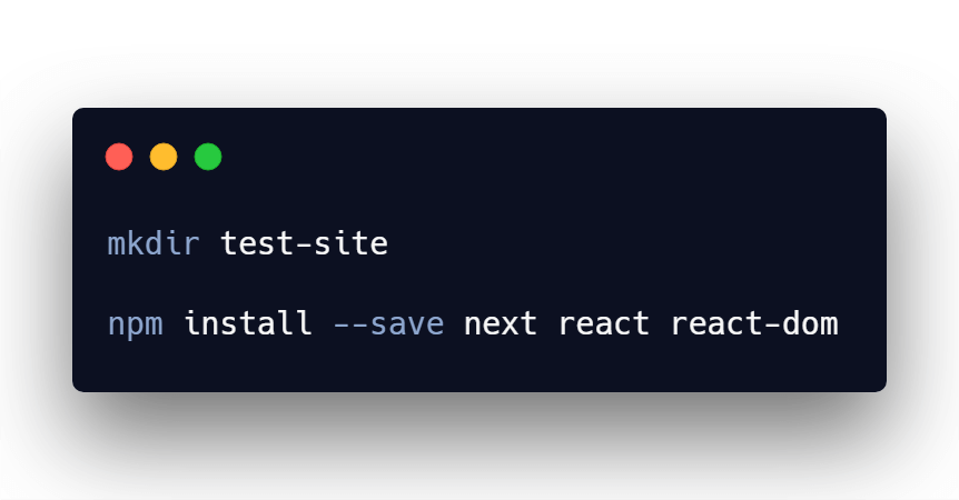 Installing NextJS and React in terminal