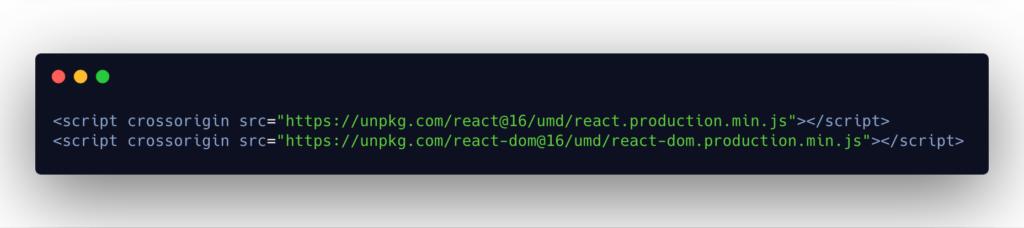 Downloading React via CDN links