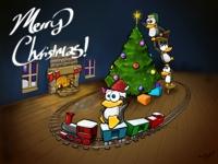 linux christmas wallpaper