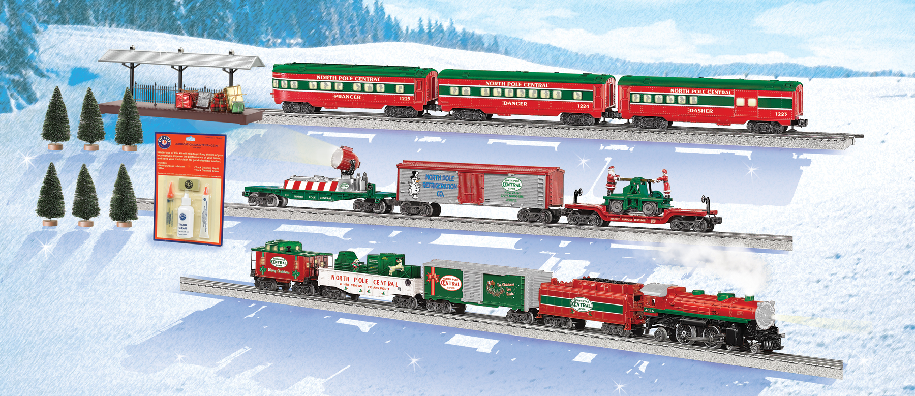 Lionel Christmas Train.North Pole Central Christmas Train Conventional 4 4 2 Steam