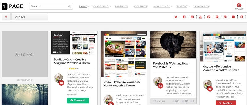 1Page - Pinterest Masonry WordPress theme